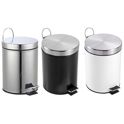 3 Litre Pedal Bin Stainless Steel Small Bathroom Kitchen Trash Waste Disposal