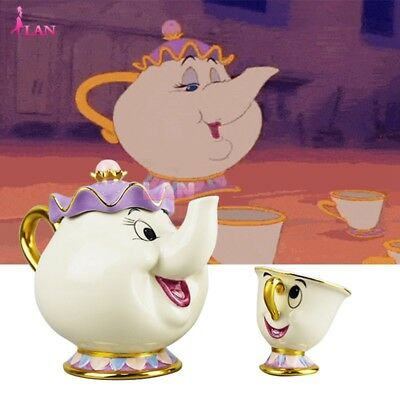 Cartoon Beauty And The Beast Teapots Mugs Mrs. Potts Chip Tea Pot and Cup Set AU
