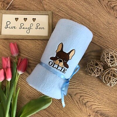 Personalised Blanket Fleece Embroidered Gift, Name&date Cute Puppy Design.