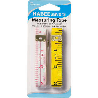 2x HABEE$avers TAPE MEASURES 150cm Long 2Pcs,Both Metric & Imperial Measurements