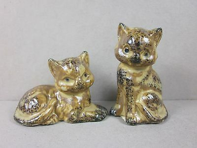 Vintage Stoneware Miniature Cat Couple Figurines Made In Japan