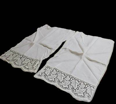 Vintage pair of cream lace trim antimacassar chair back covers each measuring 54
