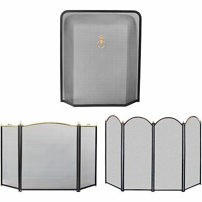 Black & Brass Fire Guard Freestanding Panel Fireplace Safety Spark Screen Cover