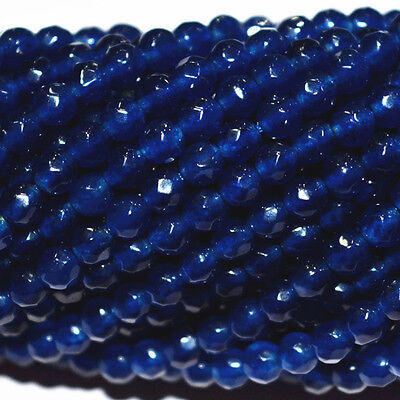 Natural 4mm Faceted DARK Blue Sapphire Abacus Gems Loose Beads 15'' AAA