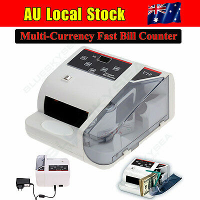 AU Money Bill Note Counter Counting Machine Currency Counting 600 Bills/m DC 12V