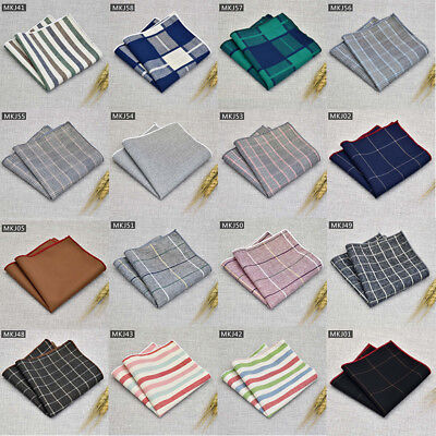 Cotton Stripe Party Pocket Square Hankie Man Handkerchief Free Shipping