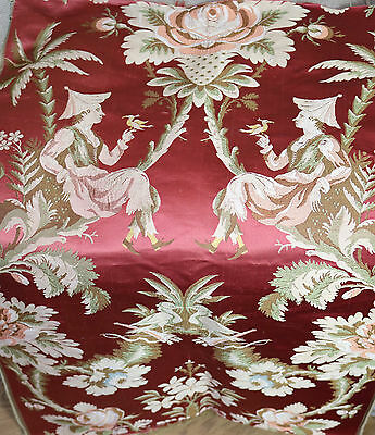 Antique French Lyon Silk Brocade Figural Chinoiserie Design Flowers Birds
