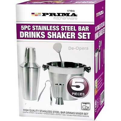 5Pc Cocktail Set Shaker Bar Mixer Stainless Steel Kit Drinks Ice Bucket Home New
