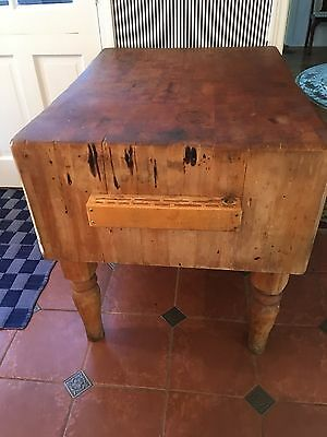 "Vintage Butcher Block Table Wood Antique Kitchen Unrestored 30"" X 40"" X 33"""