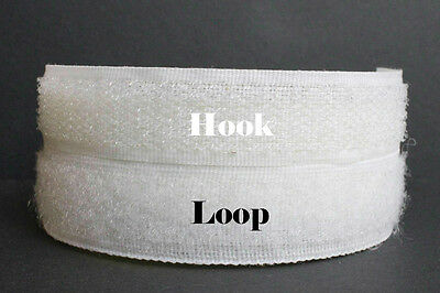 White 1m 20mm Exhibition Self Adhesive Hook and Loop Velcro Type Sticky Strip .