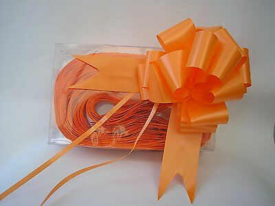 30mm Poly Ribbon Pull Bow - Orange - Choose Amount Required