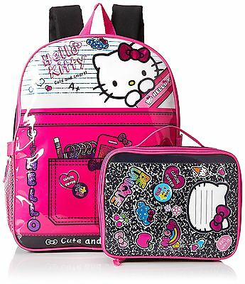 Backpack Hello Kitty Girl Kids Toddler Book Bag School Shoulder Lunch Kit NO TAX