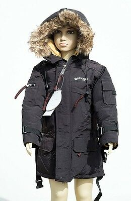 RF RoofTop Youth Teenage Boy Black Down Hooded Winter Jacket Long with Belt NWT