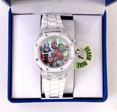 Marvel The Avengers Kids Light-Up Watch With White Rubber Band NWB Free Shipping