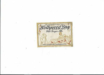 Prohibition Label -HOLLYWOOD CA PALE GINGER ALE OLD TIME MOVIE CAMERA MOVIES VG