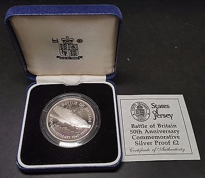 1990 Bailiwick of Jersey 50th Anniversary of Battle of Britain Silver Proof £2