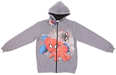 Marvel Comics Original Ultimate Spider-man Junior Boy Gray Full Zip-up Hoodie