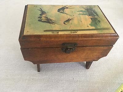 Antique James Chadwick & Bro'r Bolton Swallow themed sewing / cotton box