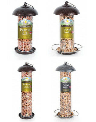 Harrisons Quality Hammertone Seed & Peanut Feeders Copper & Silver Designs