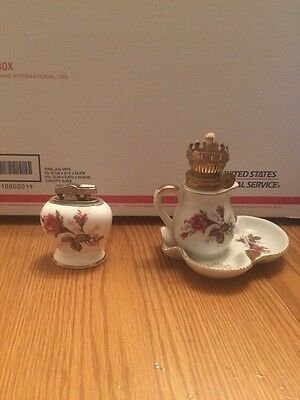 Royal Rose Fine China Moss Rose Ashtray/Oil Lamp Combo and Lighter VINTAGE
