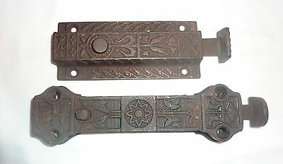2 Antique Cast Iron Door Latches spring loaded