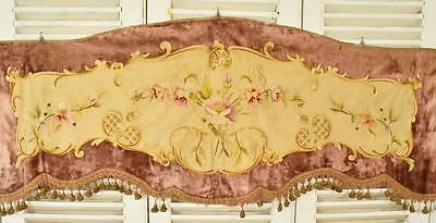 Exquisite Antique French Hand Embroidered Silk & Velvet Pelmet, 19th C - B840b