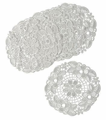 White Floral Lace Pack of 6 Round Doilies Traditional Table Dressing Mats 25cm