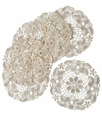 Cream Floral Lace Pack of 6 Round Doilies Traditional Table Dressing Mats 20.5cm