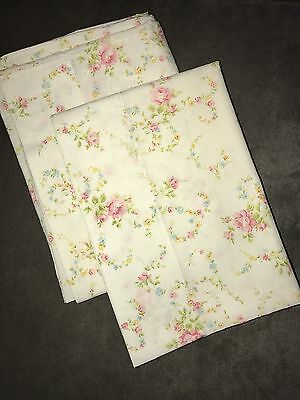 Vintage Cannon Monticello Floral Muslin Pillow Cases Shabby Chic Roses Set Of 2