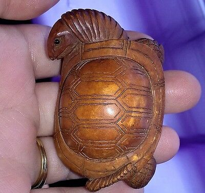 Japanese Hand Carved Boxwood Netsuke Turtle Signed