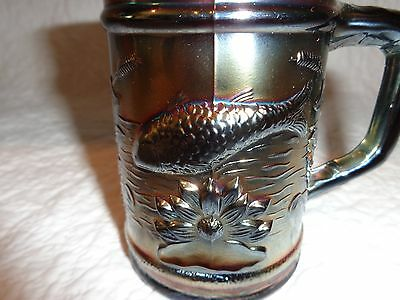 "Rare Dugan Amethyst Fish Pattern Carnival Glass Mug/Tumbler, 4"" Tall"
