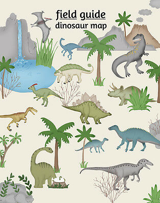 Dinosaur Map Poster, Kids Nursery Art Print , Field Guide Series, Dinosaur Decor