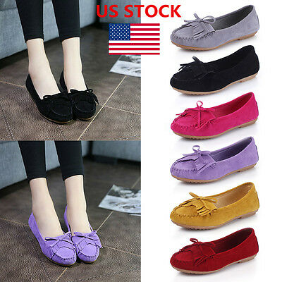 US Women Slip On Casual  Bowknot Round Toe Boat Shoes Flats Loafers Moccasins