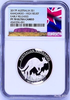 2017 P Australia HIGH RELIEF 1oz Silver Kangaroo $1 Coin NGC PF70 New Label +OGP