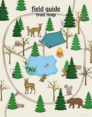 Woodland Trail Map Art Print, Childrens Nursery Art Poster, Field Guide Series,