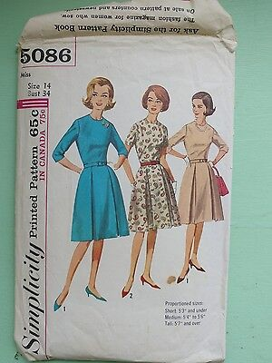 Vintage Simplicity 5086 Dress Miss Size 14 Bust 34 COMPLETE
