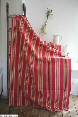 Vintage French thick COUTIS ticking DUVET COVER fabric cotton STRIPES c1940