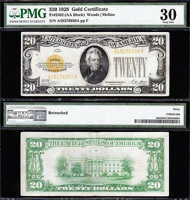 AWESOME Bold & Crisp Choice VF+ 1928 $20 GOLD CERTIFICATE! PMG 30! A18376950A