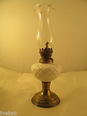 "Vintage Lamp Light Brass Milk Glass 9.5"" Tall Old Look n Feel Antique Hong Kong"