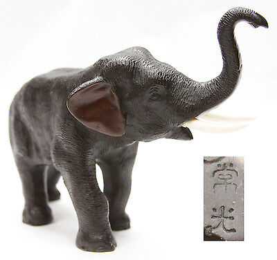 Antique Japanese Meiji Bronze Elephant Signed Okimono Sculpture Statue Japan
