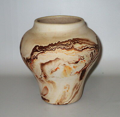"Nemadji Pottery Vase Brown Orange Yellow Swirl 5 1/2"" Signed Vintage USA"