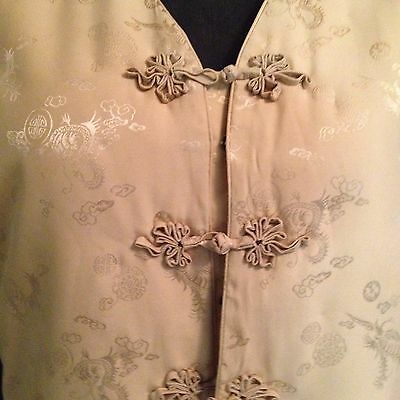 100 % Silk - Ladies Traditional Chinese Winter Padded Vest -  Size M - Soft Gold