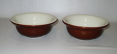 Hall China 2 Bowls #392 Brown White Restaurant Ware Cereal Soup 5 7/8""