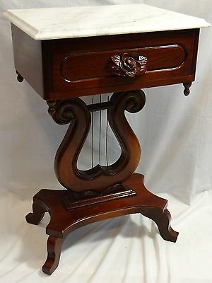 Marble Top Harp Base Table Victorian Lyre Base Stand w Drawer Mahogany Rose Pull