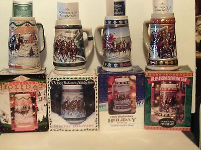 BUDWEISER HOLIDAY STEIN's-- Set of 4 In Boxes w/ COA