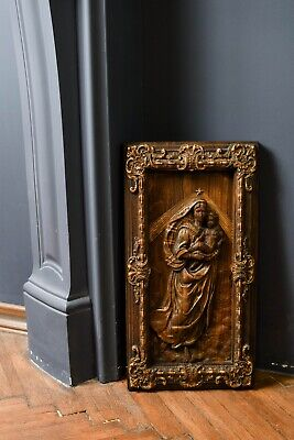 Gift for her Wood carving religious plaque The Sistine Madonna Wood gift