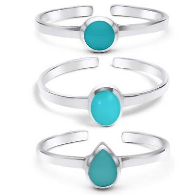 Solid Sterling Silver Turquoise Toe Rings for Women