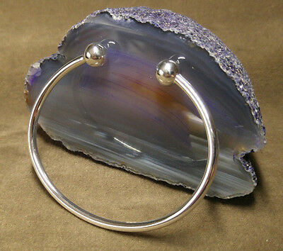 925 sterling silver ladies torque/ball end bangle