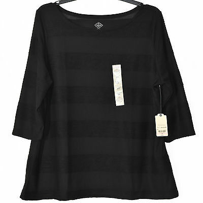 ST JOHN'S BAY Women's Top 2X Black Stretch Knit Pullover Casual Shirt 3/4 Sleeve