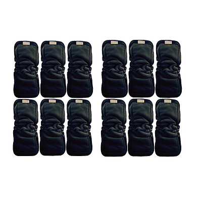 Cute Patoots- 5 Layer Charcoal Bamboo Cloth Diaper Inserts with Gussets-12 Count